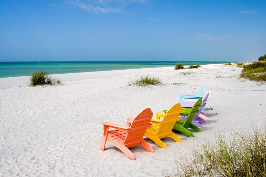 sanibel island beach with chairs