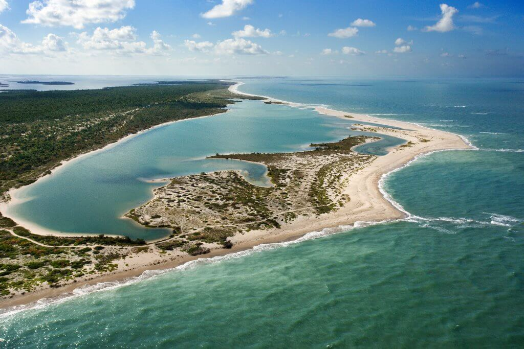 aerial view of cayo costa state park in florida